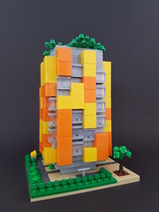 Citrus Block MOC (betweenbrickwalls) Tags: lego afol block apartments architecture microscale yellow orange legophotography architecturephotography building geometry geometric