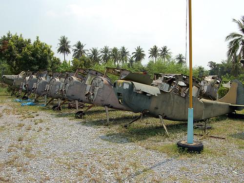 A Selection of the 19 Cessna O-1 Birddog stored
