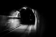 Light at the end of the tunnel? (schwanhals) Tags: malaga málaga andalucía andalucia spain city urban night sony alpha 5000 monochrome black white