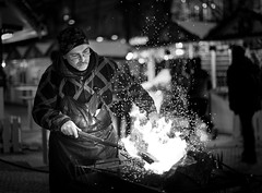 Blacksmith in Prague (JanBures_com) Tags: prague streetphotography night bw blackwhite city steel blacksmith