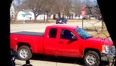 Red pickup truck - HTT 365/158 (Maenette1) Tags: red pickuptruck window neighborhood menominee uppermichigan happytruckthursday flicker365 michiganfavorites project365