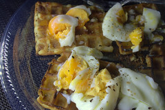 Poached Eggs on Waffles (Tony Worrall) Tags: add tag ©2018tonyworrall images photos photograff things uk england food foodie grub eat eaten taste tasty cook cooked iatethis foodporn foodpictures picturesoffood dish dishes menu plate plated made ingrediants nice flavour foodophile x yummy make tasted meal nutritional freshtaste foodstuff cuisine nourishment nutriments provisions ration refreshment store sustenance fare foodstuffs meals snacks bites chow cookery diet eatable fodder poached eggs waffles yolks