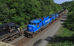 Meet at Trafford (GLC 392) Tags: trafford pa pennsylvania ns pittsburgh line emd sd60i cr conrail norfolk southern 591 empty coal train railroad railway blues brothers quality gone last ones 6723 6718 9877 ge d940cw c409w tree main
