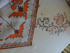 Two  embroideries!!A traditional Bulgarian and a Greek!  P1040386 (amalia_mar) Tags: embroidery traditionalbulgarian greek weeklythemes twocolours orangeandbrown patterns gift