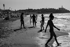 A day at the beach (michael.mu) Tags: beach leica m240 50mm leicaaposummicronm50mmf2 telaviv backlight backlit silhouette streetphotography bw blackandwhite monochrome