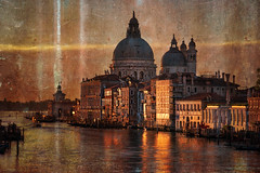 A Textured Venice (Stuck in Customs) Tags: italy ratcliff stuckincustomscom trey treyratcliff venice sony sonya7r stuckincustoms aurora hdr hdrtutorial hdrphotography hdrphoto canal cathedral boat sunset pink blue h5d building city water sky river texture