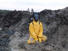 Yellow muddy doggie 3 (kari1888) Tags: rainwear raingear gear muddy rubber boots doggie fetish mittens gloves