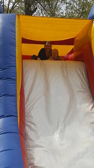 Bounce Houst at Rose Family Crawfish Boil - March 2018 (Flan de Coco) Tags: bounce house play slide fun baby kids lydia rose march 2018 mommy mother daughter