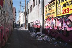No Basura (ADMurr) Tags: la macpark macarthur park alley no trash basura dumping grafiti grafitti leica m6 50mm zeiss zm planar kodak ektar cbc301