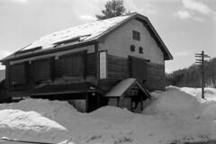Old inn near the station (threepinner) Tags: house inn hotel numata hokkaidou hokkaido northernjapan japan spring snow daytime mamiya press super23 100mm sekor f28 acros selfdeveloped spd 沼田町 北海道 北日本 日本