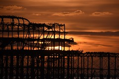 Brighton 20 March 2018 080 (paul_appleyard) Tags: brighton beach sunset dusk evening endoftheday end golden pier west ruin abandoned crumbling sky