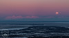 Full moon over Alaskan Range (fentonphotography) Tags: flattop moon fullmoon alpenglow sunrise moonset landscape pinksky alaska horizon water