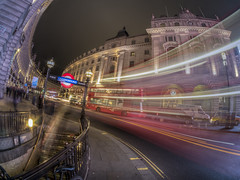 finding beauty in the chaos (Wizard CG) Tags: piccadilly circus london long exposure england gb great britain uk united kingdom cold skyline outdoor architecture city night bus cityunderground station traffic epl7 urban motion