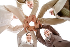 Team Work (cfdtfep) Tags: business team teamwork network hands scrum businessteam join coworkers group people businesswoman businessman low angle office worker circle standing cooperation relationship young smiling smile cheerful happy happiness togetherness friendship friends caucasian beige isolated below associates ring meeting joined success support partnership partners 2025 years 2530 20s five businesspeople confidence staff hungary