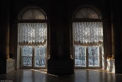 Two Windows (peterphotographic) Tags: росси́я санктпетербу́рг госуда́рственныйэрмита́ж stpetersburg saintpetersburg russia olympus em5mk2 microfourthirds ©peterhall statehermitagemuseum hermitage museum artgallery p3200162edwm window arch curtain shadow sun sunlight pair two symmetry