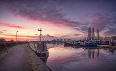 A Perfect Start (Captain Nikon) Tags: sawleycut sawleymarina sawley derbyshire leicestershire rivertrent waterway narrowboats reflections pinks pastels dawn sunrise england greatbritain uk nikon