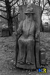 Wizard Wood Carving (Nikon Ranger) Tags: wizard blackandwhite monochrome wood crich treecarving carving chainsaw tree outside outdoors book flash male grass nikon nikond3s woodlandwalk fillinflash chest d3s sb900 hat