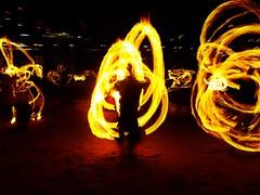 Man on Fire. (Priya Radia) Tags: fire firespinner spinner spinning circus flame heat staff firestaff london southbank londonfirespinners beach lighting staffspinning oxo oxotower dirtybeach performance performer southwark firemanipulation fireperformer pyromania