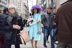Fifth Avenue (-»james•stave«-) Tags: newyork nyc manhattan easter parade fifthavenue fabulous hat bonnet flowers people woman dog pet fashion smile style elegance grace flair glamour holiday color turquoise street sidewalk nikon d5300