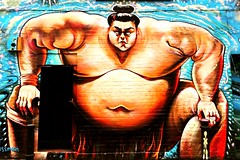 Sumo wrestler (Janardan das) Tags: flickrart flickr urbanart wallart artwork art streetphotography mural graffiti streetart cellphonegraphy mobilephonegraphy iphonegraphy iphone365 iphone6 england uk bricklane london wrestling unlimitedphotos sumowrestler sumo