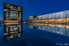ThyssenKrupp Headquarter (funtor) Tags: blue golden germany architecture city night reflection light color