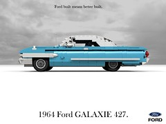 Ford 1964 Galaxie 427 CID V8 Convertible (lego911) Tags: ford galaxie 1964 1960s classic motor company 427 v8 convertible auto car moc model miniland lego lego911 ldd render cad povray