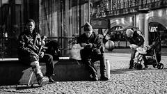 The Hurt, The Old and The Mother (Movie Scene) (The Street Sniper) Tags: deutschland germany berlin scene 1855mm kitlens xe3 fujifilm fuji trio injured old streetphotography street schwarzundweiss blackwhite blackandwhite baby mother mom men people