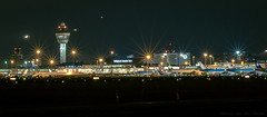 Amsterdam Schiphol by Night (mesocyclone70) Tags: schiphol amsterdam airfield airplane aviation spotter planespotter night nightscape nightphotography skyline light lights longexposure dark evening 50mm