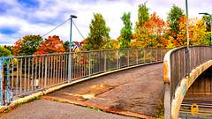 A bridge (pramodphotography7) Tags: bridge nydalen oslo norway fall autumn fallcolors cloud sky trees