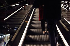 IMG_3955 (JetBlakInk) Tags: art escalator movingstaircase reflections people londonunderground thesharde feet legs commuter streetphotography londontransport lowkey lightandtone