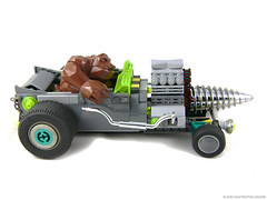 Revenge of the Raided Rock Rat Rod (Unijob) Tags: lego rock monster raiders leg godt bricks car rat rod ratrod hot hotrod drill chrome classic 90s 90 teal turquoise dark brown wheel wheels slizer exhaust chain link crystal neon green steering unijob lindo moc own creation pierce gear gears motor engine big huge racing kart race vehicle racers old figure fig grey gray bley stud yellow black stripes character bigfig fink ed roth daddy