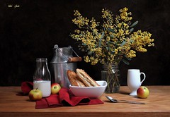 Morning Light (Esther Spektor - Thanks for 12+millions views..) Tags: stilllife naturemorte bodegon naturezamorta stilleben naturamorta composition creativephotography art tabletop morning spring food fruit milk apple pastry bouquet flowers mimosa container jar bottle bowl cup napkin glass metal creamics wooden ambientlight reflections white yellow red silver green black estherspektor canon