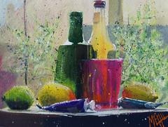 """Soda et citrons #1"" (andremehu) Tags: gouache stilllife stillleben painting fineart naturemorte paint stilllifepainting transparency dish vaisselle"