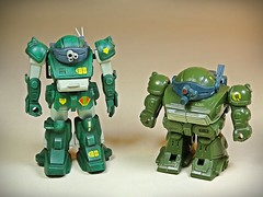 Union Model – Vintage Plastic Kit – 1/60 Armoured Trooper Votoms (装甲騎兵ボトムズ) Series – Marsh Dog – Built Up – With Takara Choro Q Votoms 1 (My Toy Museum) Tags: union model vintage plastic kit armoured armored trooper votoms marsh dog choro q choroq