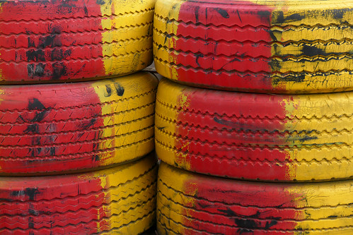 Tires in red and yellow