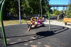 Swing Fun with a Friend (Vegan Butterfly) Tags: outside outdoor edmonton alberta homeschool homeschooling notbacktoschool picnic event people kids children kid child person fun play playing swing swinging friends together playground