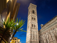 Campanile at Dusk (Feldore) Tags: florence campanile night architecture tower old italy italian feldore mchugh em1 olympus 1240mm ornate decorated church medieval giotto