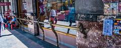 2018 - Mexico City - Hitching Post (Ted's photos - For Me & You) Tags: 2018 cdmx cityofmexico cropped mexico mexicocity nikon nikond750 nikonfx tedmcgrath tedsphotos tedsphotosmexico vignetting streetscene street reflection seating seats seated shadow window brass