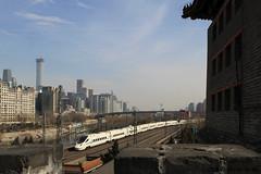 I_B_IMG_8440 (florian_grupp) Tags: asia china locomotive train railway railroad passenger diesel electric beijing station citywall beijingmainstation chaoyang peking cnr chinanationalrailway traffic bluesky