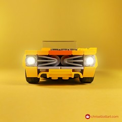 1976 Salem Lynx (ChrisElliottArt) Tags: lego legos car cars 1970s 70s convertible muscle yellow square crop chriselliottart sports