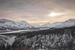 cold sun (CNorthExplores) Tags: yukon yukonterritory kluanenationalpark canada valley mountains sun clouds cloudy trees forest snow cold nature landscape outdoor hiking outside north breathtakinglandscapes explored
