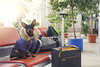Happily awaiting the train! (Alex Poison) Tags: dog animals pet cute luggage station await train funny
