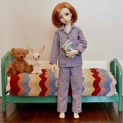 Time for bed. (Jay Bird Finnigan) Tags: dollstown deogi bjd abjd 1940s sewing doll dollclothes teddy bunny