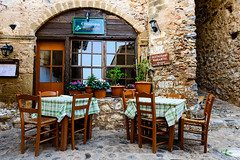 Restaurant Marianthi (George Plakides - Away for a few days) Tags: monemvasia marianthi restaurant chairs tables cat