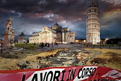 Manutenzione (Zz manipulation) Tags: art ambrosioni zzmanipulation pisa torre monumenti storico sera lavori piazza battistero citta city