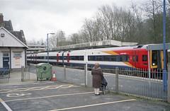 159001 at  Sherborne Station, 19 Feb 2007 (Ian D Nolan) Tags: railway sherbornestation station epsonperfectionv750scanner 35mm lswr br class159 dhmu sprinter 159001