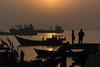 Sunrise on the Bengali Sea (Kathy~) Tags: sunrise bengali sea water silhouette fishingboat boat many 15challengeswinner