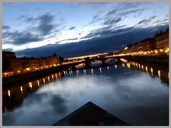 Di sera sul fiume (Domenico T) Tags: bridge sky cityscape reflections lights arno river