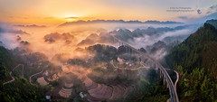 To the Sky (Mengzhonghua) Tags: aerialphotography panorama bridge transportation drone dji mountains fog sunrise dawn landscape