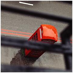 Called ... (Thomas Listl) Tags: thomaslistl color telephone red london uk greatbritain street urban lines diagonal stripes phonebooth square vsco concrete communication